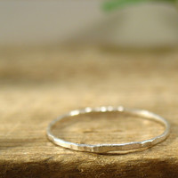 Xtra Thin Hammered Sterling Silver Stacking Ring