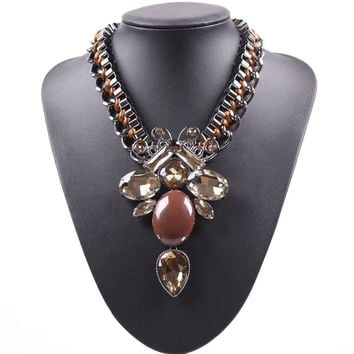 Chunky Statement Chain Necklace Big Pendant