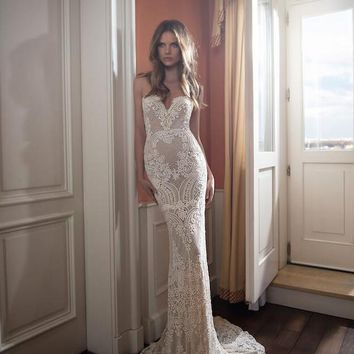 Berta 2016 Full Lace Backless Wedding Dresses Mermaid Sweetheart Neckline Sweep Train Pearls Sexy Open Back Bridal Gowns 2017