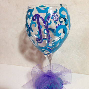Shop hand painted bridesmaid wine glasses on wanelo for Painted wine glasses with initials