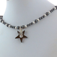 Hematite Star Pendant with Silver Stardust and Hematite Necklace, Gemstone Bead Pendant Necklace