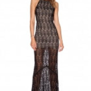 Black Lacy Fish Scale Open Back Evening Dress