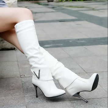 Fashion High Heels Long Boots White = 1946741316