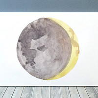 Moon phase print Moon poster Watercolor art Lunar print ACW901