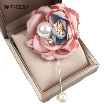 Fashion Hot Women Romantic Handmade Fabric Flower Brooch Suit Boutonniere Button Pearl Brooches Wedding Party Accessories Gifts