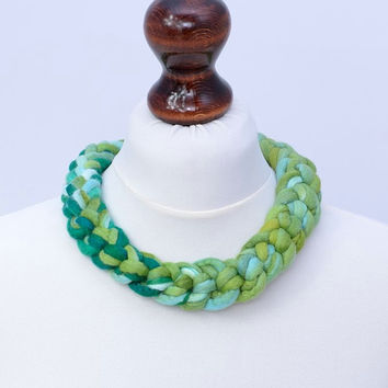 Green braided crochet necklace - felt crocheted necklace in the braid shape - massive felted wool jewelry [N90]