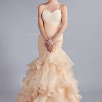 [US$ 202.99] Mermaid Sweetheart Floor-Length Organza Prom Dress With Ruffle Lace Beading (018026261)