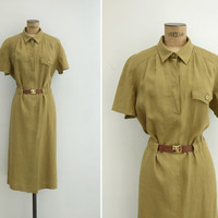 1970s Dress - Vintage 70s Olive Green Linen Dress - Maleza Dress