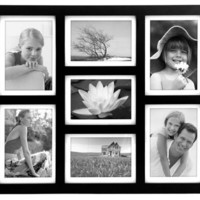 Malden 2061-70 Southlake 4 by 6 Matted Wall Frame 7 Opening Collage, Black