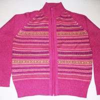 Peruvian Design Alpaca Wool Zip Front Cardigan for Women.