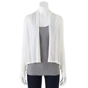 ESB7GX Dana Buchman Pieced Ribbed Open-Front Cardigan - Women's Size