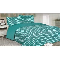 3 Pieces Turquoise Blue White Polka Dot Reversible Comforter Set Fit Twin or Full Bed