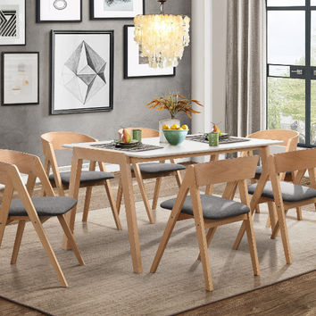 Home Elegance HE-5575-7PC 7 pc Misa natural finish wood white top mid century modern dining table set