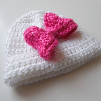 Baby Girl Hat - White Beanie with Hot Pink Bow - Crochet - Handmade - Baby to Adult Beanie hat with Bow - Made to Order