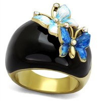 Butterfly Crystal Rainbow Black Gold Stainless Steel Ring