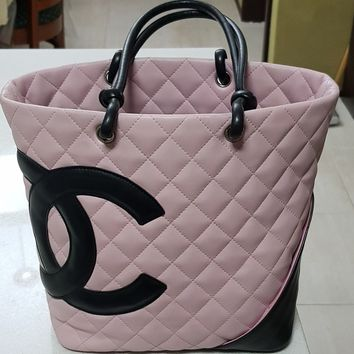 Authentic Chanel Pink/Black Lamb Skin Cambon Ligne Tote Shopper Bag