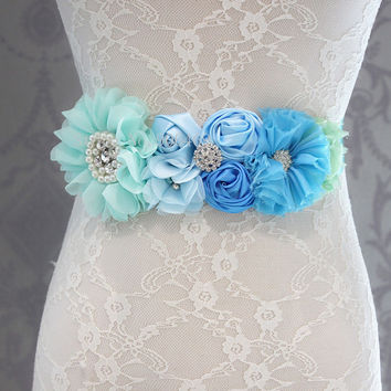 Fashion Blue flower Belt,Girl Woman Sash Belt Wedding Sashes belt  with flower headband 1 SET