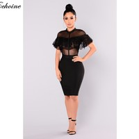 Black Mesh Dress Women Retro Goth Palace Dresses Vintage