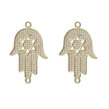 ac spbest 1pc 35*22mm Micro Pave CZ Hamsa Hand Charms Connector Necklace & Pendant Jewelry Accessories For Women Diy Bracelet