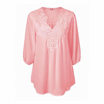 Newest Spring Summer Women Blouses Lace Chiffon Hollow V-neck Shirts Plus Size S-5XL Loose Three Quarter Sleeve Tops Shirts