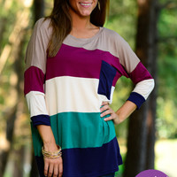 Striped Colorblock Top, Navy/Tan