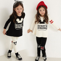 Girls Mickey Mouse 2 PC Leggings and Long Sleeve Shirt