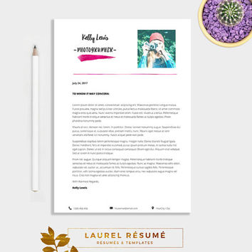 Elegant Résumé Template. 2 Pages Resume + Cover Letter + 1 page References + CV + doc template + photo resume + watercolor resume