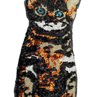 XXL Extra Large Stunning Sequin Kitty Cat Patch 26cm Applique