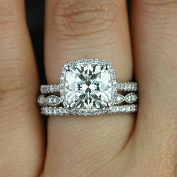 Barra 9mm & Christie 14kt White Gold FB Moissanite and Diamonds Halo TRIO Wedding Set (Other metals and stone options available)