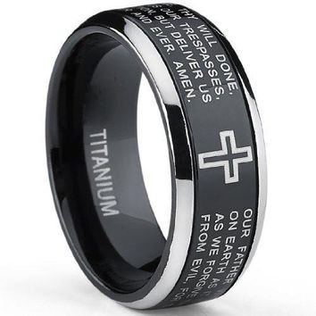 Two Tone Black Titanium Lords Prayer Ring Band Sizes 7 to 13