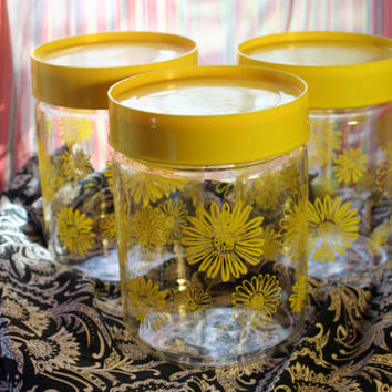 Set of 3,  Vintage Sunflower Yellow Corning Glass Canisters Jars