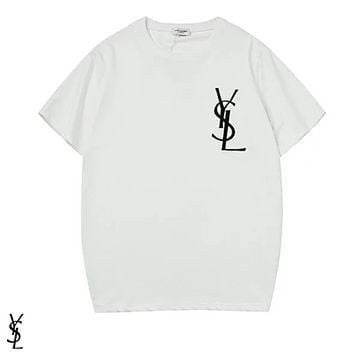 YSL Fashion New Bust Side Embroidery Letter Women Men Leisure Top T-Shirt White