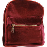 Velvet Mini Backpack - Burgundy
