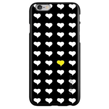 DistinctInk® Spigen ThinFit Case for Apple iPhone or Samsung Galaxy - Yellow White Black Repeating Hearts
