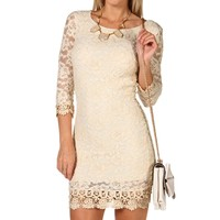Sale-3/4 Sleeve Lace Bodycon Dress
