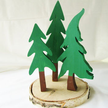 Christmas Tree Centerpiece, Tree Trio Set, Wood Christmas Trees, Christmas Tree Trio