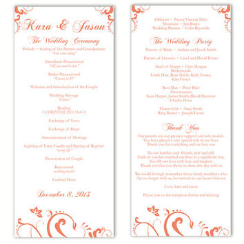 Wedding Program Template DIY Editable Text Word File Instant Download Program Orange Program Floral Program Printable Wedding Program 4x9.25