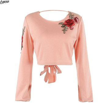 Women Embroidery Floral Cropped Sweatshirt Tied Open Backless Long Sleeve Round Neck Casual 2 Colors Autumn Pullover Tops