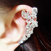 Butterfly and Blossom Wrapping Ear Cuff (Silver,Single,No Piercing) - LilyFair Jewelry