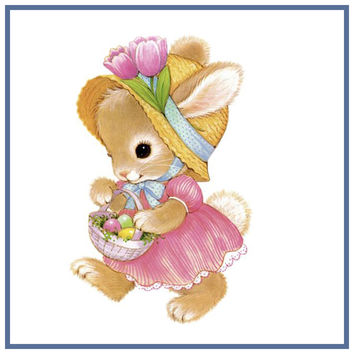 Contemporary Bunny in Pink Dress with Basket of Decorated Easter Eggs Counted Cross Stitch or Counted Needlepoint Pattern