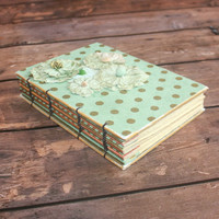 Mint and Gold Wedding Guest Book - Hostess gift - Recipe journal - handmade gifts, housewarming