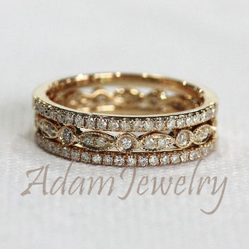 Discount!  3 HALF Eternity Bands Solid 14K Yellow Gold Ring Set  1.2mm  Diamonds Wedding Band & Art Deco Engagement Ring/ Anniversary Ring