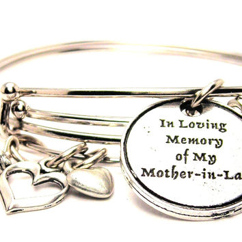 In Loving Memory Of My Mother In Law Expandable Bangle Bracelet Set