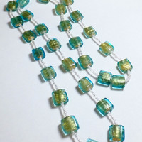 Aqua Glass with Gold Foil Necklace