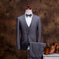 2015 New Arrivals Classic Retro England Plaid Style Suits Men Blazer+Vest+Pants,Fashion Elegant Men Dress Business Casual Style