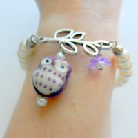 Purple Owl Bracelet, Pearl Stretch Bracelet