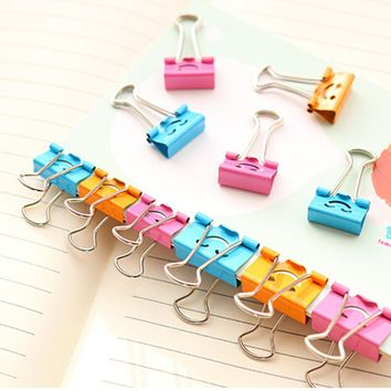 40Pcs Cute Smile Binder Clips For Home Office Books File Paper Organizer Metal Paper Clips School Supplies
