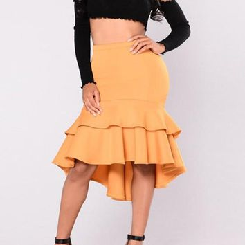 Yellow Cascading Ruffle High-low Irregular High Waisted Trumpet Homecoming Party Elegant Skirt