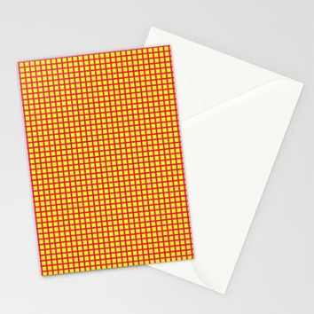 Pink On Yellow Grid Stationery Cards by Moonshine Paradise | Society6