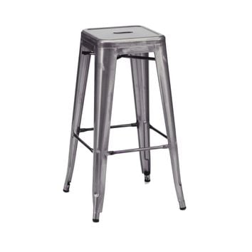 Sundsvall Stackable Dark Gunmetal Steel Barstool (Set of 4)